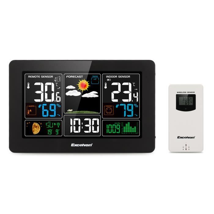 EXCELVAN Station météo Sans fil avec Prévisions Météo Écran LCD  Température+Humidité + +Pluie Intérieur-Extérieur f451a625e4bc