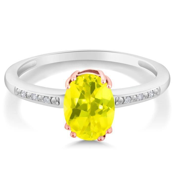 Bague En Or Blanc et Rose 10k - Topaze Mystique jaune ovale et Diamant - 1.30 ct