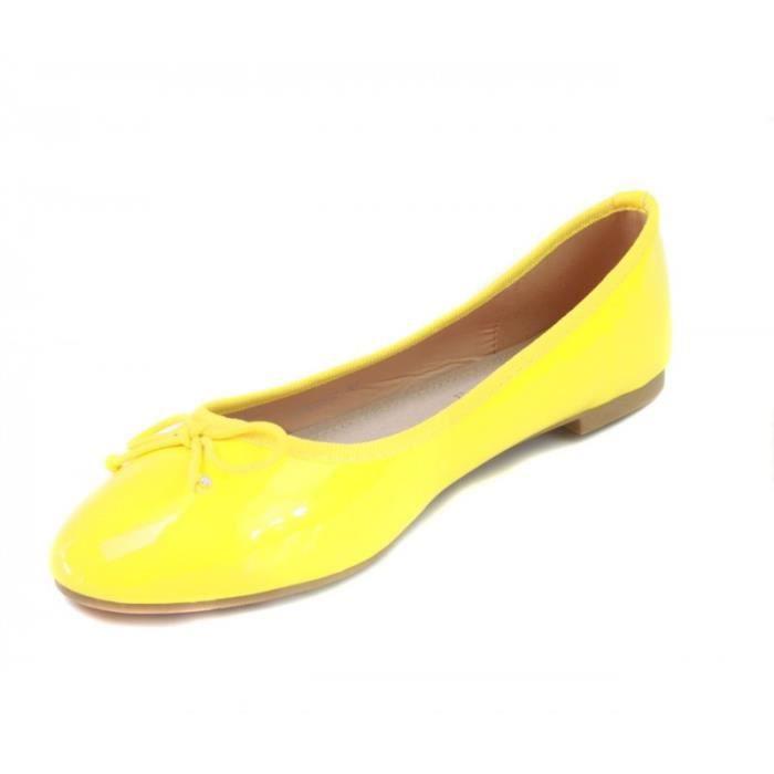 Ballerines classiques vernies jaunes semelle cuir