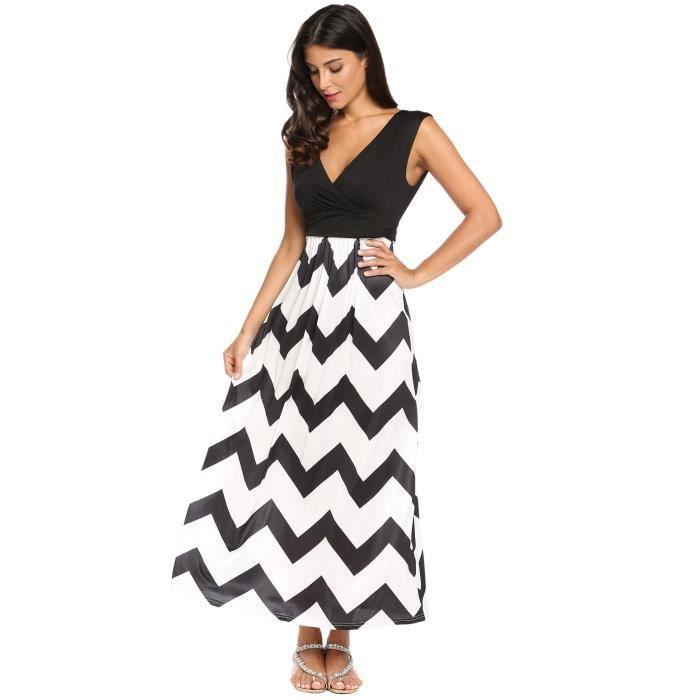 Robe Maxi Femme Taille élastique de couleur contraste sans manches à rayures