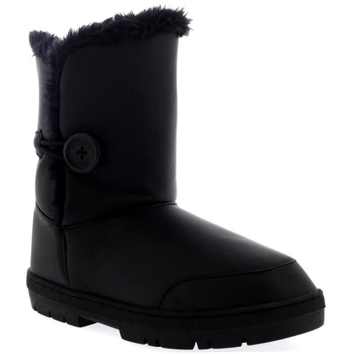 Womens Bouton unique entièrement en fourrure Doublé Bottes hiver imperméables neige OJ1SJ Taille-39 pIueLPi