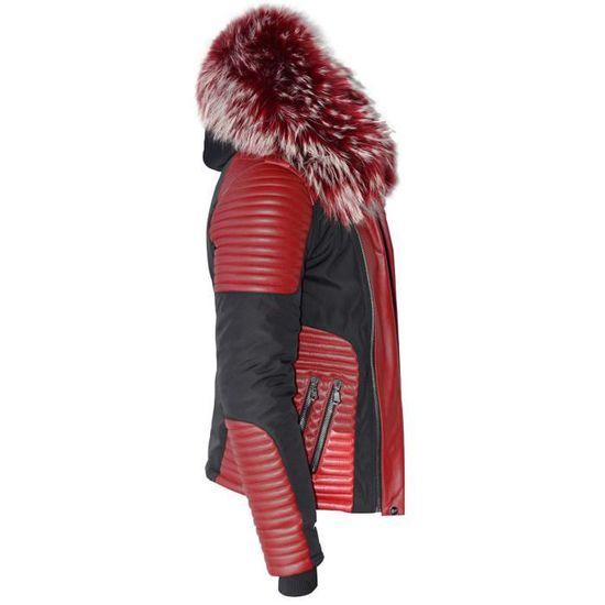 Ventiuno MASERATI Veste Doudoune Bi-matière rouge fourrure véritable rouge  mèches blances taille MAX - cuir d agneau rouge - doudou Noir noir - Achat  ... 8d1638874ee