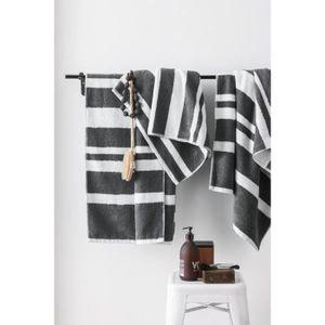 FINLANDEK Set de 2 Draps de douche 70x140 cm + 1 Serviette 50x100 cm KYLPY rayures anthracite et blanc