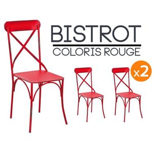 bistrot rouge lot 2 chaises bistrot - Chaise Bistrot Rouge