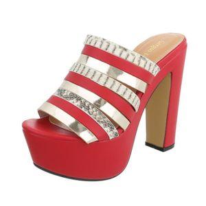 ce39ecb433c59 MULE Chaussures femme sandale à talons hauts Plateau Hi ...