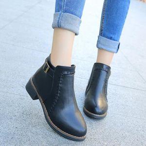 SLIP-ON Chaussures plates Bottes femme cheville Flock Slip