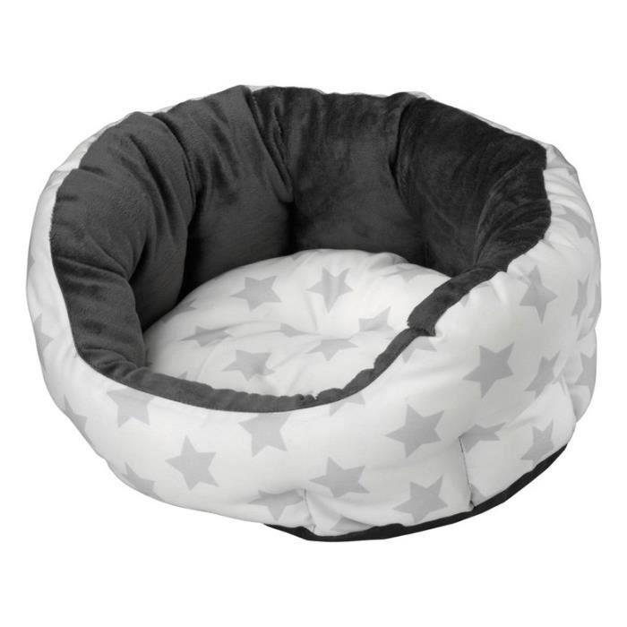 En polaire et polycoton - Dimensions : 75x70x26cm - Coloris : silver - Pour chien.CORBEILLE - PANIER - COUSSIN - HAMAC - LIT