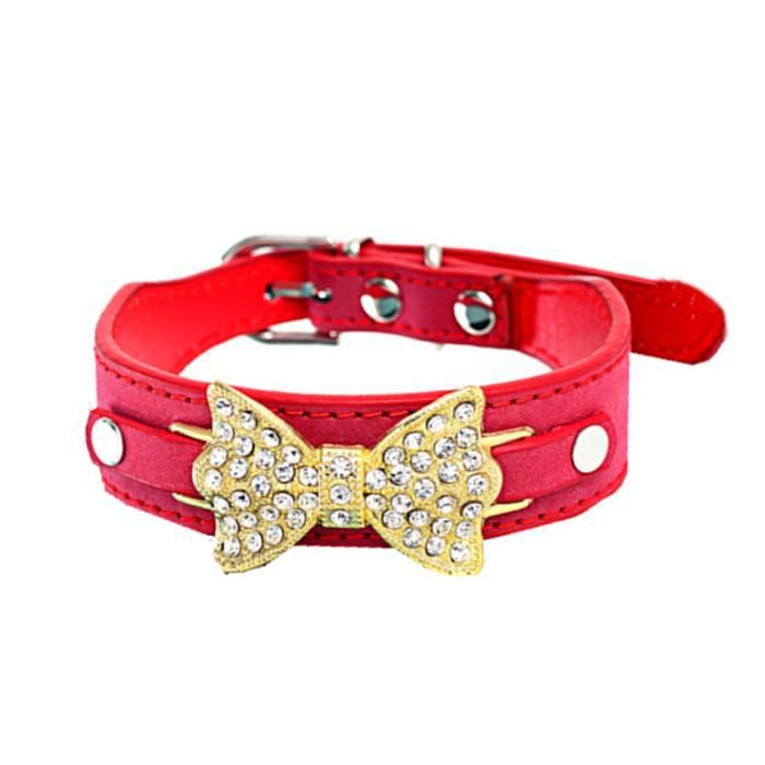 Ouniondo® Chien Chiot Collier Chat Avec Bling Crystal Bow Cuir Rd - S_aloha121