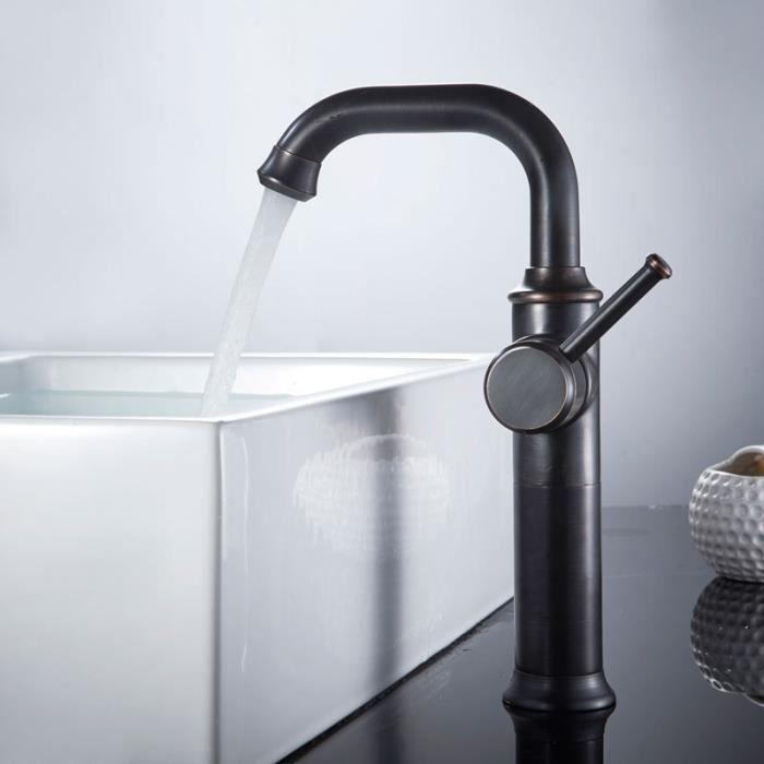 Robinet lavabo Mitigeur salle de bain (Haut) de luxe noir & Flexible