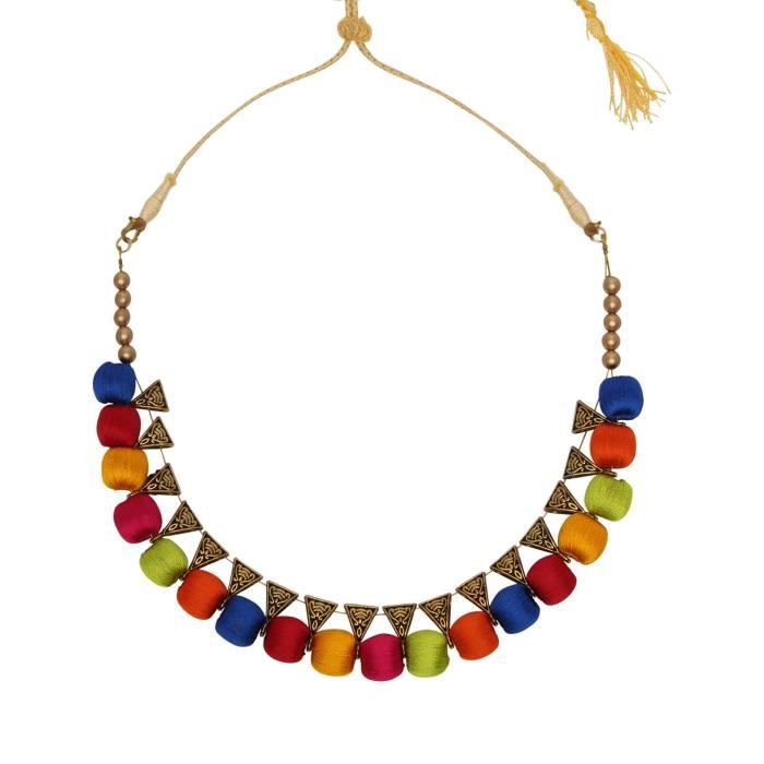 Womens Bridal Wedding Multicolor Silk Thread Without Earring Necklace ForJ422Z