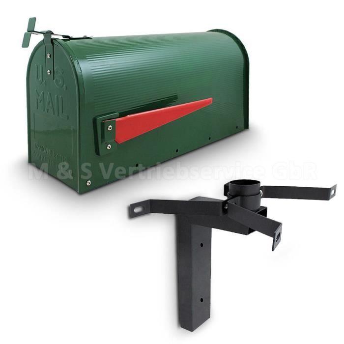 boîte aux lettres américaine + support mural vert - achat / vente
