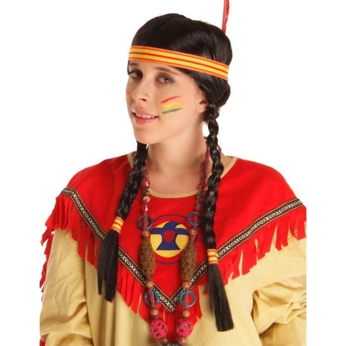Perruque Indienne avec plume femme - 2306