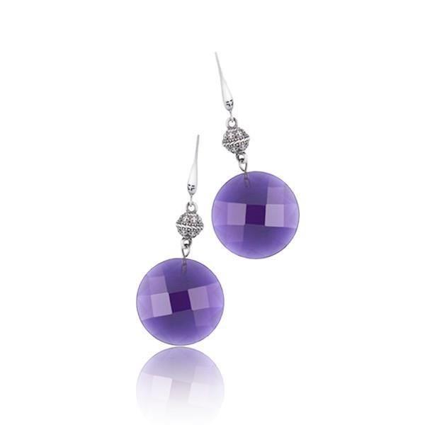 Boucles d oreilles boule violette pour femme - Idée cadeau femme St valentin