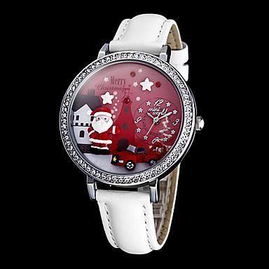 Montre pour femme p re no l d cor dial en cuir pou achat vente montre cdiscount for Montre decoration