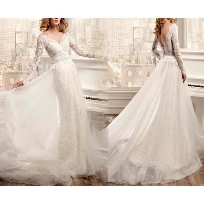 e9f6c65030d Robe de mariée longue traîne col V profond