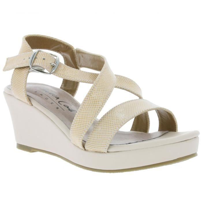En Cuir Shoes Sandales Femmes Véritables Wedge Pour Andrea Conti kOuiwPTXZ