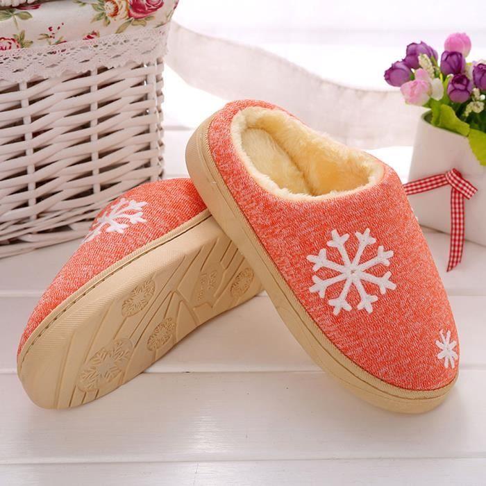 Femmes d'hiver chaussures de maison en intérieur faux fourrure pantoufles chaudes rose 6ZCTwb9