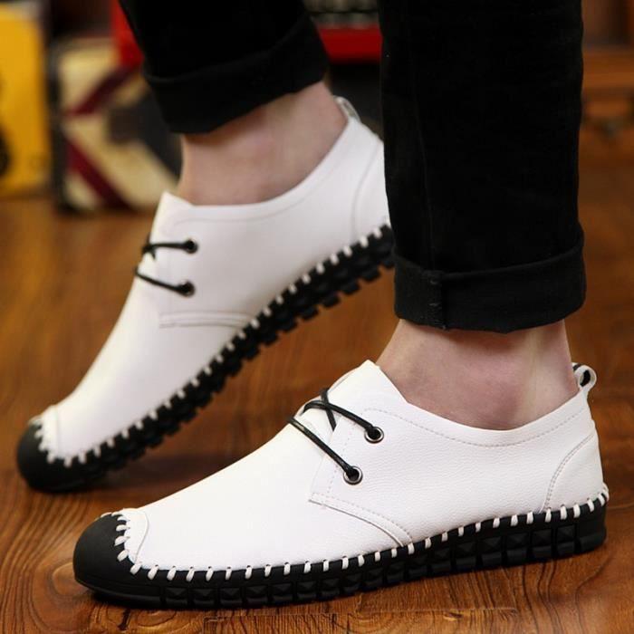 Mode pour hommes Chaussures plates en cuir Souliers simple Mocassins pour Hommes,bleu,44