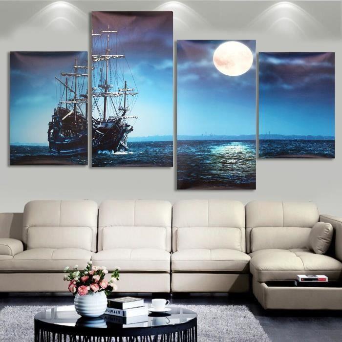 tempsa 4pcs tableau peinture huile toile bateau de mer mural sans cadre maison d cor achat. Black Bedroom Furniture Sets. Home Design Ideas