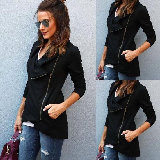 Fashion 5180 Femme Zipper Veste Parka Blazer wt Fit Noir Zly70918781bk Casual Slim Manteau Outwear OgU0xqgw