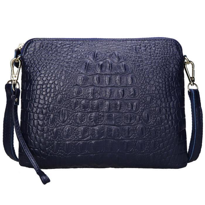 Sac à bandoulière en cuir de vache sac à main en cuir pour femme Alligator embrayage Crossbody ZNETY