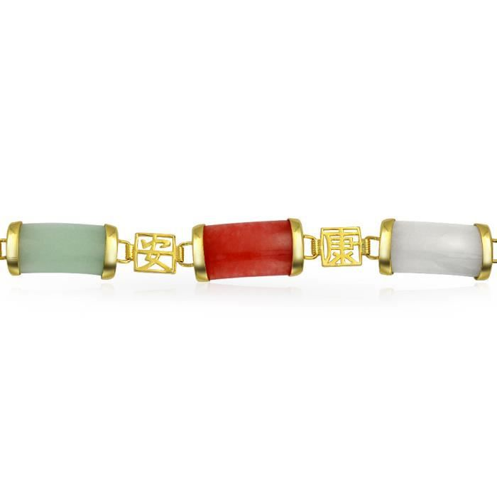 Bling Jewelry Chinois dargent plaqué or chance Onyx teints Bracelet Jade 8EN