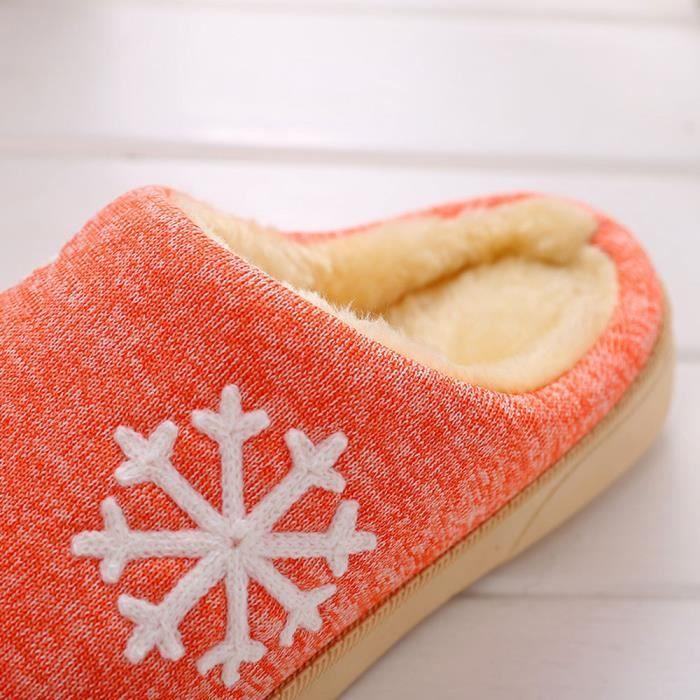 Femmes d'hiver chaussures de maison en intérieur faux fourrure pantoufles chaudes orange xYpHe