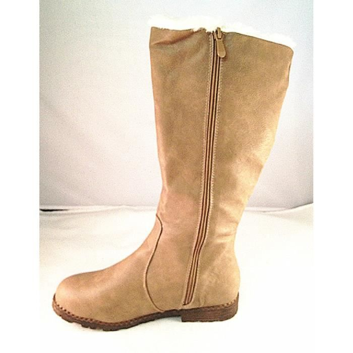 Fashionfolie888 - Femme Fille Bottes Bottine fourrée fourrure boots fur plat Hiver Neige L53 TAUPE igFDdR1tl
