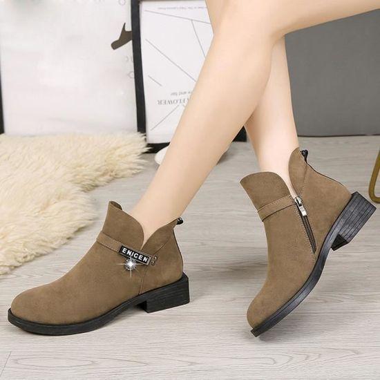 Bas Bottes Chaussures Femme Coierbr Bl6137 Ronde Martin Mode Tête femmes Zipper Z5g06
