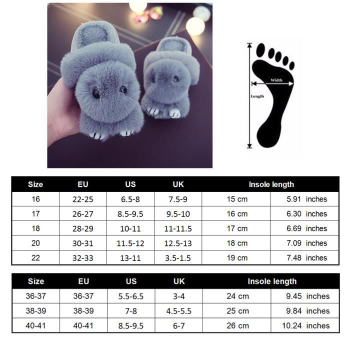 Cotton Pantoufle Motif de Lapin Chausson Chaussure Peluche Pantoufles d'intérieur Pour Enfant 38 Gris