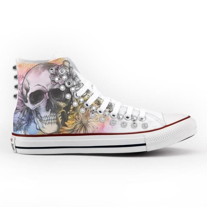 Converse All Star Personnalisé, Imprimés et Clouté argent- chaussures à la main - produit Italien - skull and flowers