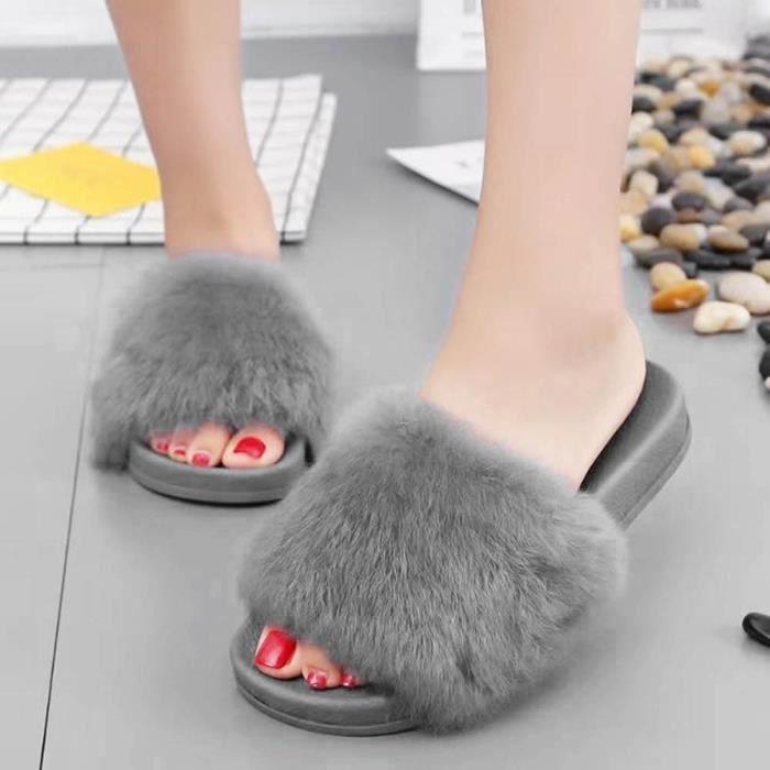 Fluffy Benjanies gris Fausse Femmes Fourrure Plat Flip Souple Sandal Antidérapante Flop Slipper 4Z4tPq