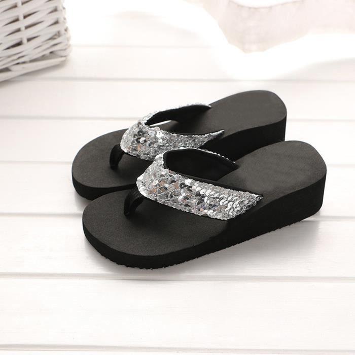Sandales anti-dérapantes d'été de paillettes de femmes Pantoufles intérieures et extérieures de pantoufle @SJF80104733SL u6Cterq