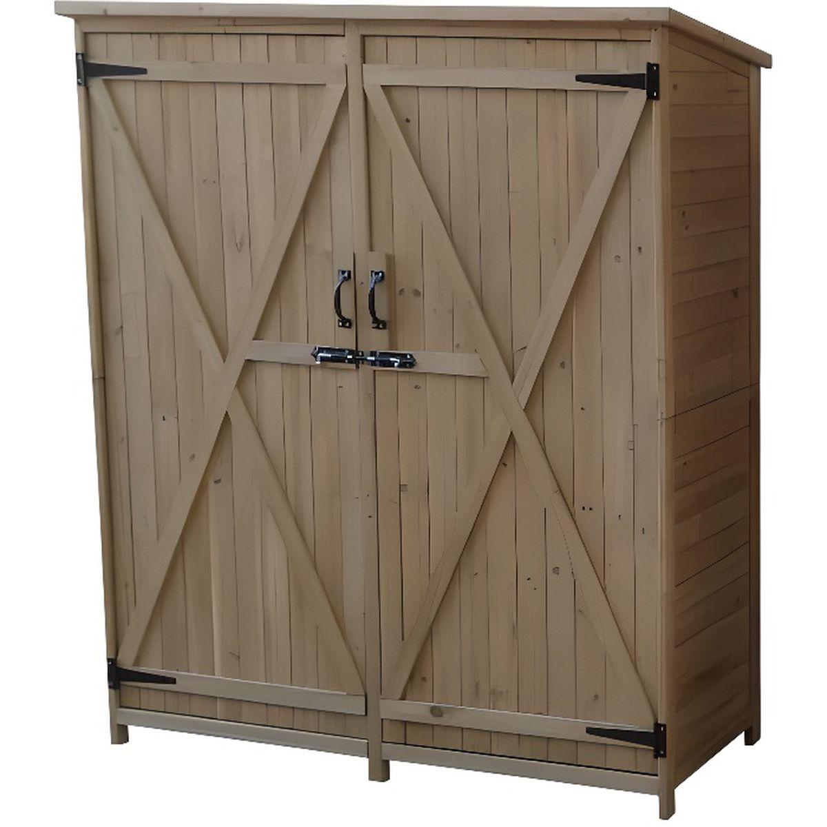 Abri armoire extérieur Sundy en bois massif 140 x 50 x 162 cm ...