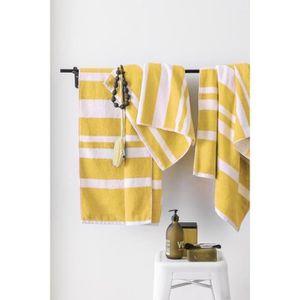FINLANDEK Set de 2 Draps de douche 70x140 cm + 1 Serviette 50x100 cm KYLPY rayures jaune moutarde et blanc