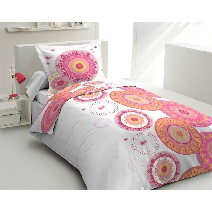 Matière : 100% coton tissé serré 54 fils - Dimensons : 140x200/ 65x65 cm - Coloris : blanc, rose et orangePARURE DE COUETTE