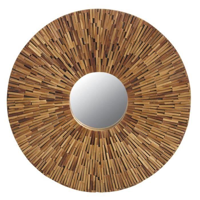 Miroir rond en bois recycl 76cm achat vente miroir for Miroir rond 120 cm