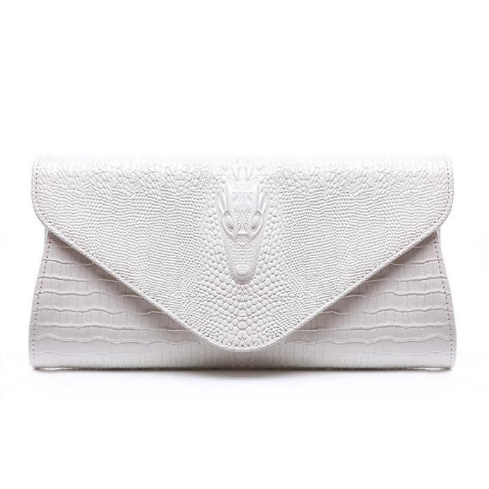Motif Crocodile Sac à main en cuir de vache de soirée de mariage sac de soirée bourse dembrayage UDZE4