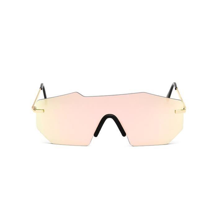 Mode unisexe Vintage Irrégulier lunettes de mode Lunettes de soleil aviateur miroir rose-LJL70609131PK_1234