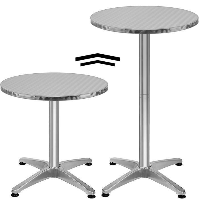 table de bar - table haute - bistrot aluminium - réglable en hauteur