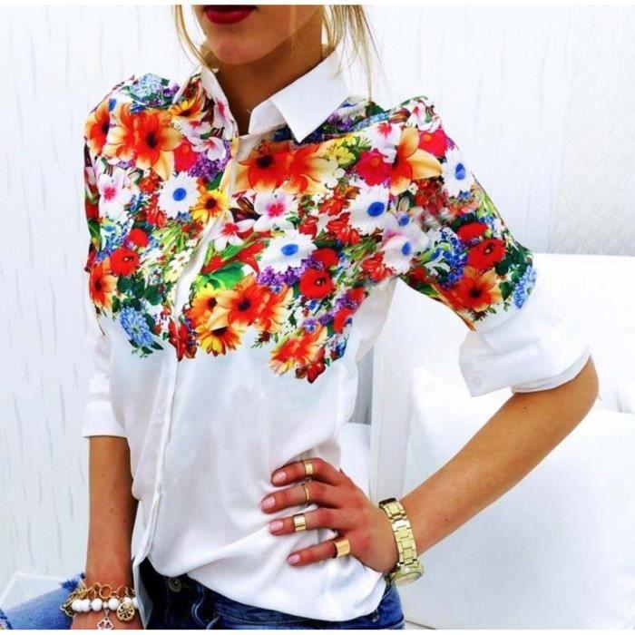 2a0fa1e378bb6e CHEMISE - CHEMISETTE Mode femme Chemises col rabattu Casual Blouse F..