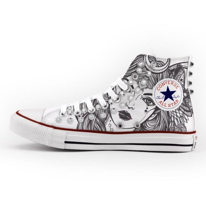 Converse All Star Personnalisé, Imprimés et Clouté argent- chaussures à la main - produit Italien - lady
