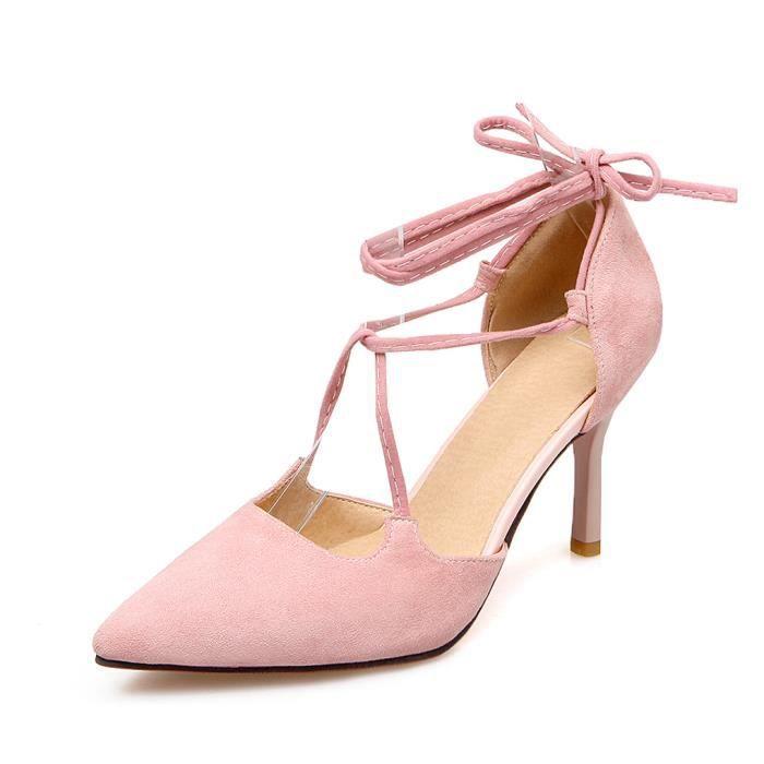 3e8a85fc5b4 ... Lanières Chaussures Eté Soirée Rose 43. ESCARPIN Oaleen Escarpins  Pointu Femme Talons Haut Sexy Dai