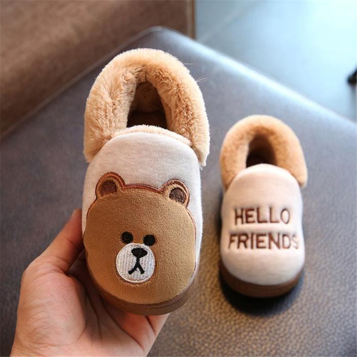 Les ours pantoufles pour enfants mixtes chaussures de luxe de marque mignonne dessin animé chausson enfant hiver chaud maison lvzL0dV