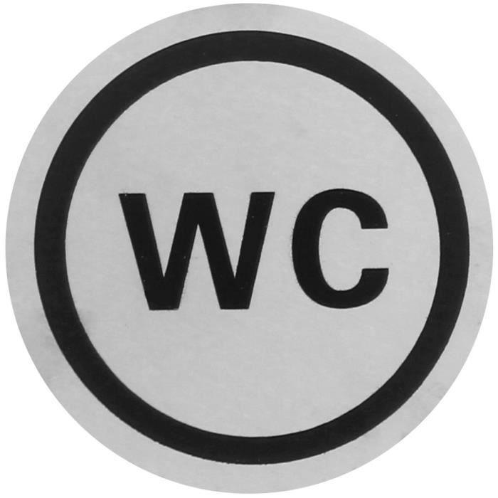 Panneau indication plaque de porte wc toilettes argent - Plaque de porte wc design ...