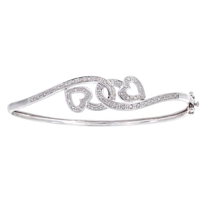 Revoni - Bracelet jonc en or blanc 9 carats et diamants 0,25 carat, motif cœur - REVCDPBC02314W