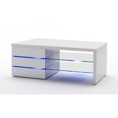 meuble tv faisceau 3 tiroirs laqu blanc led achat. Black Bedroom Furniture Sets. Home Design Ideas
