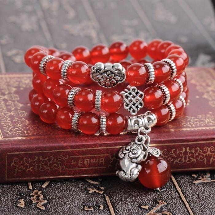 Bracelet rouge Bijoux de mode Accessoire perles de grenat Agate et Pi Xiu 45fd4677225