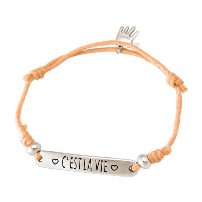 Gemshine - Dames - Bracelet - Gravure - CEST LA VIE - Argent - corail vif - Rose