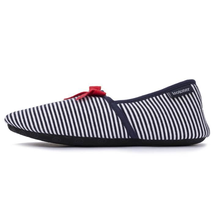 Chaussons charentaises femme rayures
